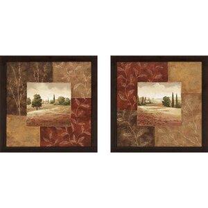 Poppy Fields' 2 Piece Framed Acrylic Painting Print Set Under Glass