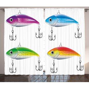 Fishing Lures Decor Wildlife Room Darkening Rod Pocket Curtain Panels (Set of 2) by East Urban Home