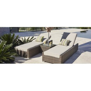 Rezendes Contemporary Reclining Chaise Lounge Set with Cushions and Table