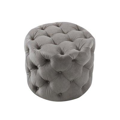 House of Hampton Mucha Tufted Cube Ottoman Upholstery Material/Body Fabric: Velvet, Upholstery Color: Gray