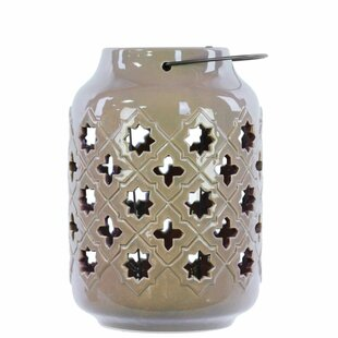 Bungalow Rose Ceramic Lantern with Metal Handle Octagon and 4-Point Star Design