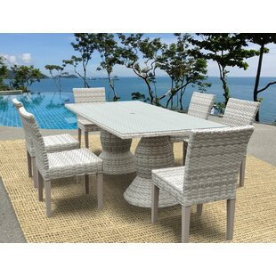 Rosecliff Heights Ansonia Wicker 7 Piece Dining Set