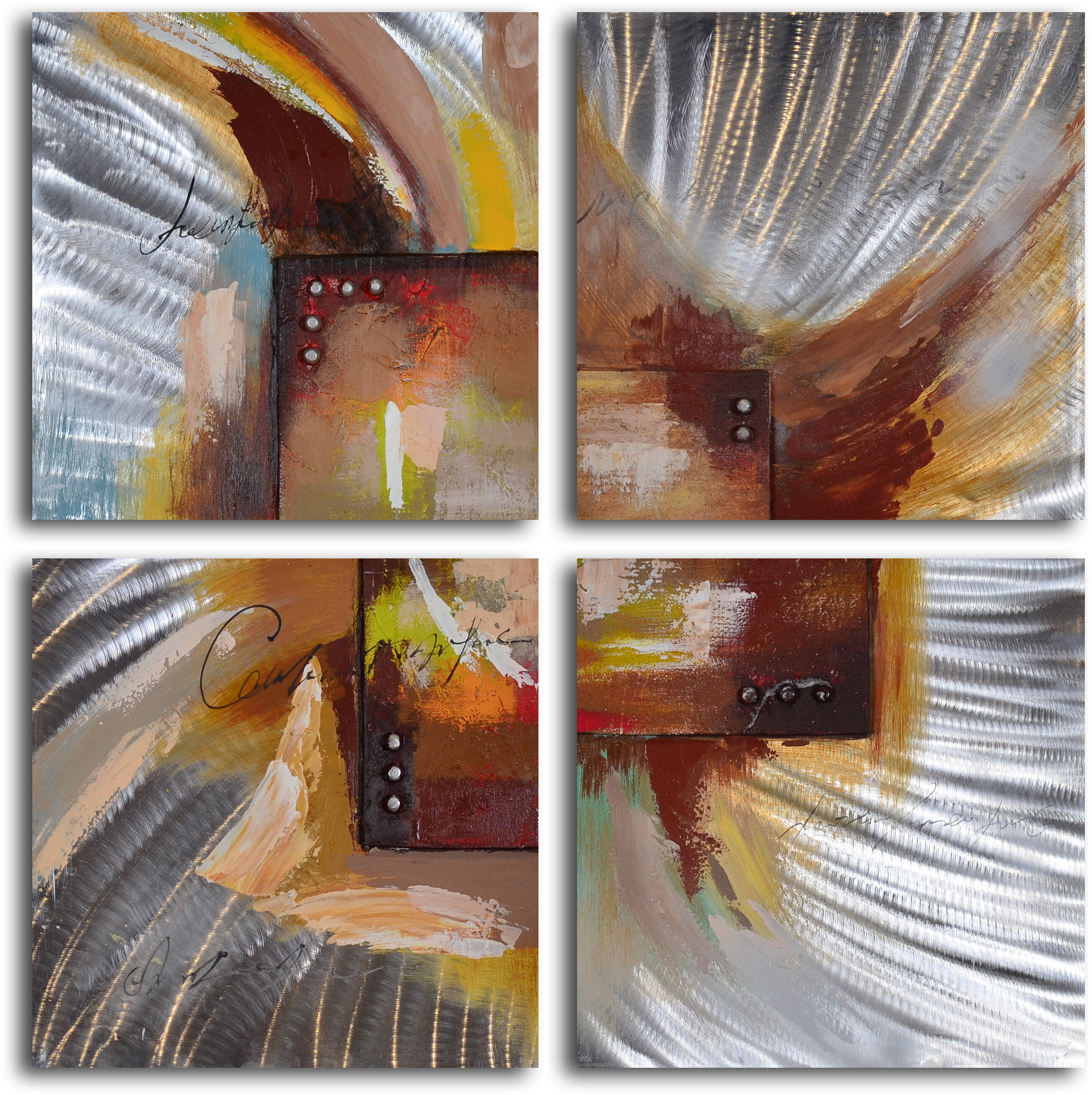 My Art Outlet Four Square Steel Splash 4 Piece Painting On Wrapped Canvas Set