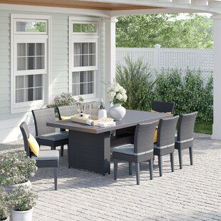 Fernando 9 Piece Outdoor Patio Dining Set with Cushions