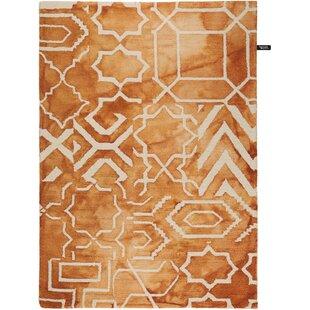 Dip Dye Handmade Wool Orange Rug by benuta
