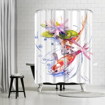 East Urban Home Suren Nersisyan Koi Fish Feng Shui Single Shower Curtain Wayfair