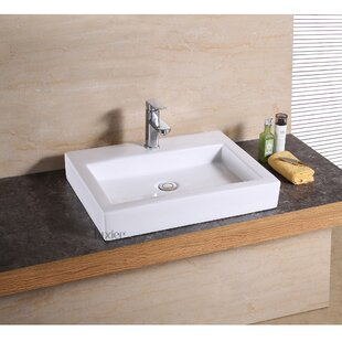 Save Luxier Ceramic Rectangular Vessel Bathroom Sink