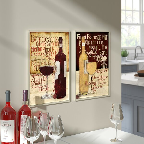 'Red and White Wine' Typography 2 Piece Graphic Art Plaque Set