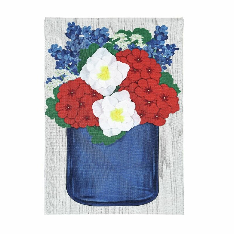 Evergreen Enterprises Inc Patriotic Floral Mason Jar 2 Sided Linen 44 X 28 In House Flag Wayfair
