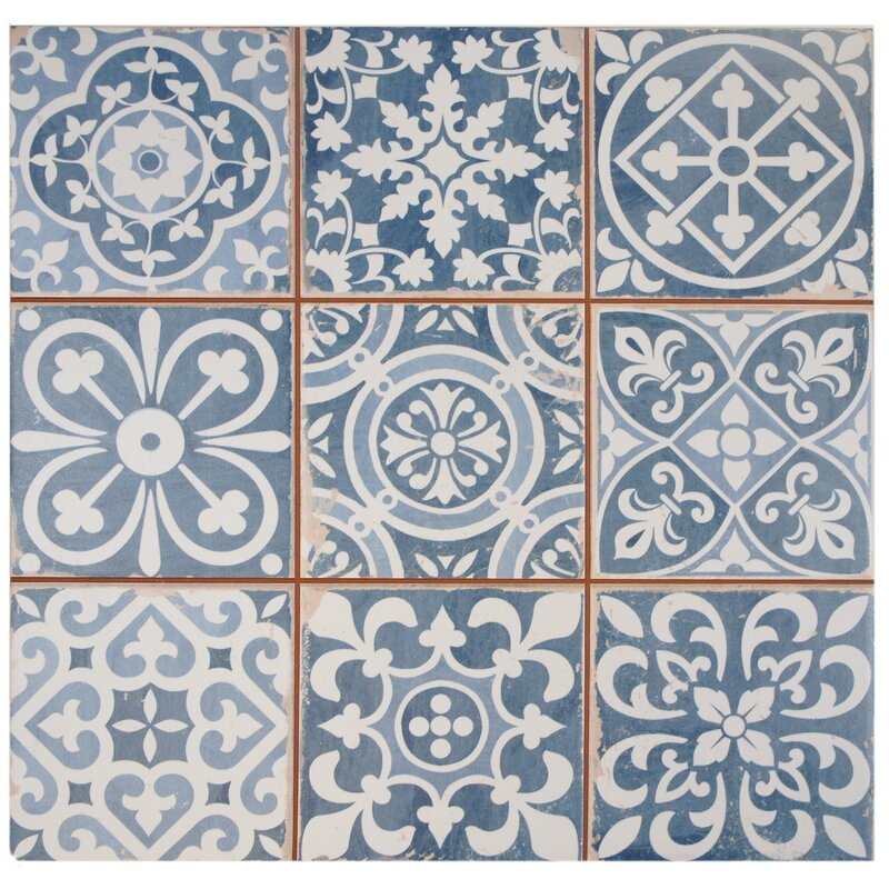 "Faventie Azul 13"" x 13"" Ceramic Field Tile in Blue"