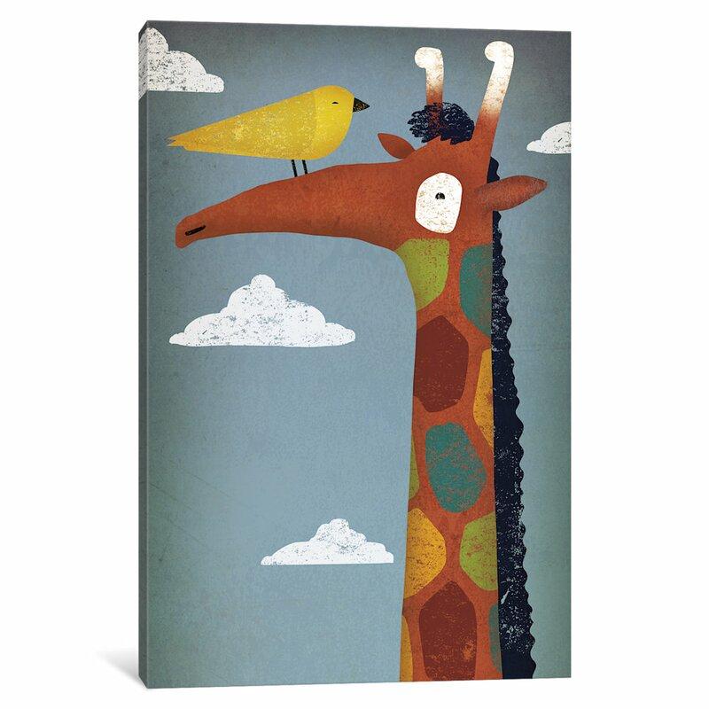 East Urban Home Giraffe Graphic Art On Wrapped Canvas Wayfair