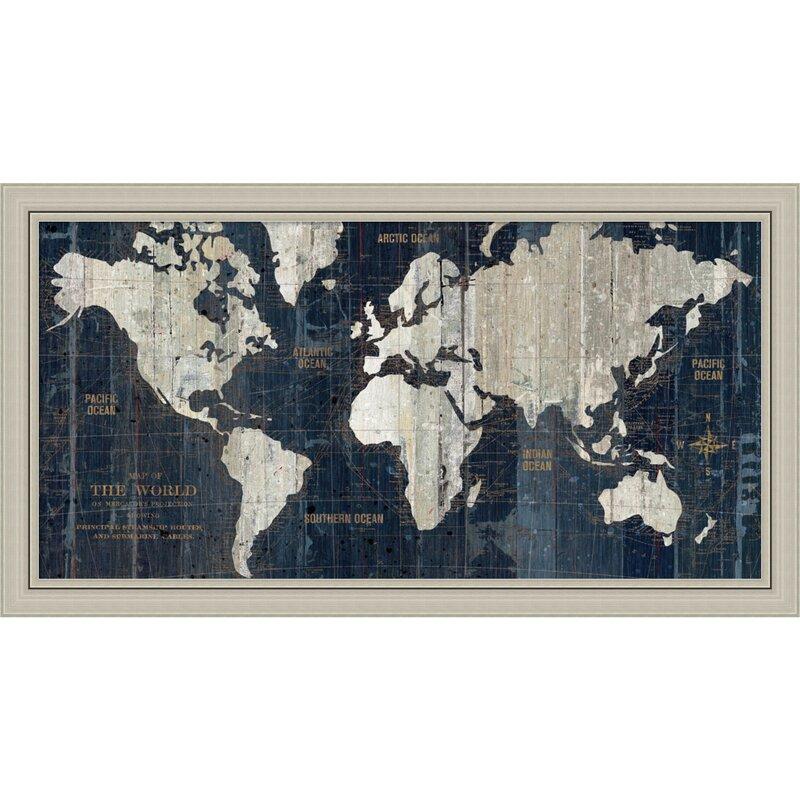 Old World Map\' Framed Graphic Art & Reviews | Joss & Main