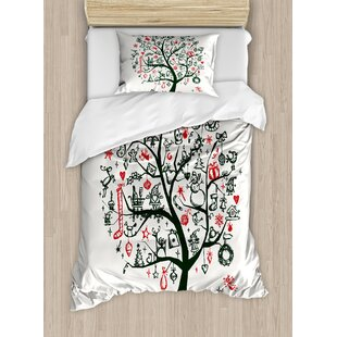 Christmas Large Tree with New Year Ornaments Gifts Candles Angels Holiday Theme Duvet Set by Ambesonne