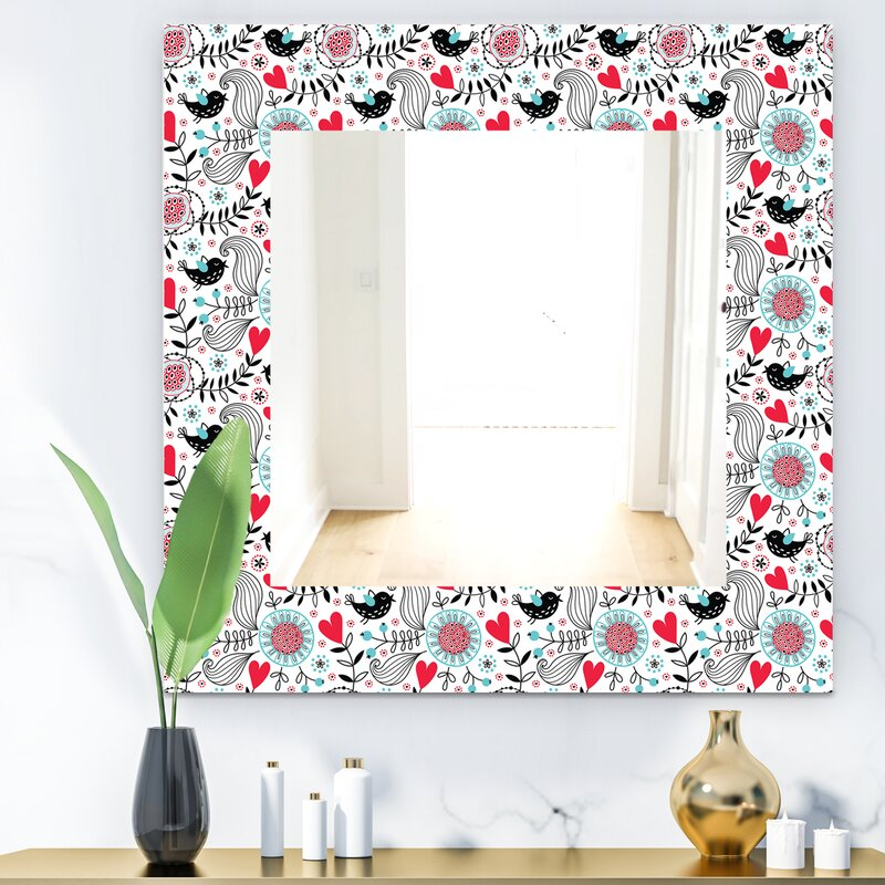East Urban Home Designart Colourful Floral Pattern Ii Modern Mirror Frameless Vanity Mirror Wayfair Ca