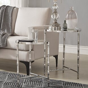 Conlon Bamboo-look Stainless Steel Marbled 2 Piece Nesting Tables