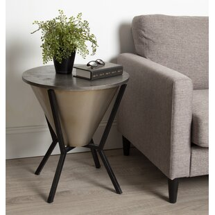 Chase Round Metal End Table with Storage
