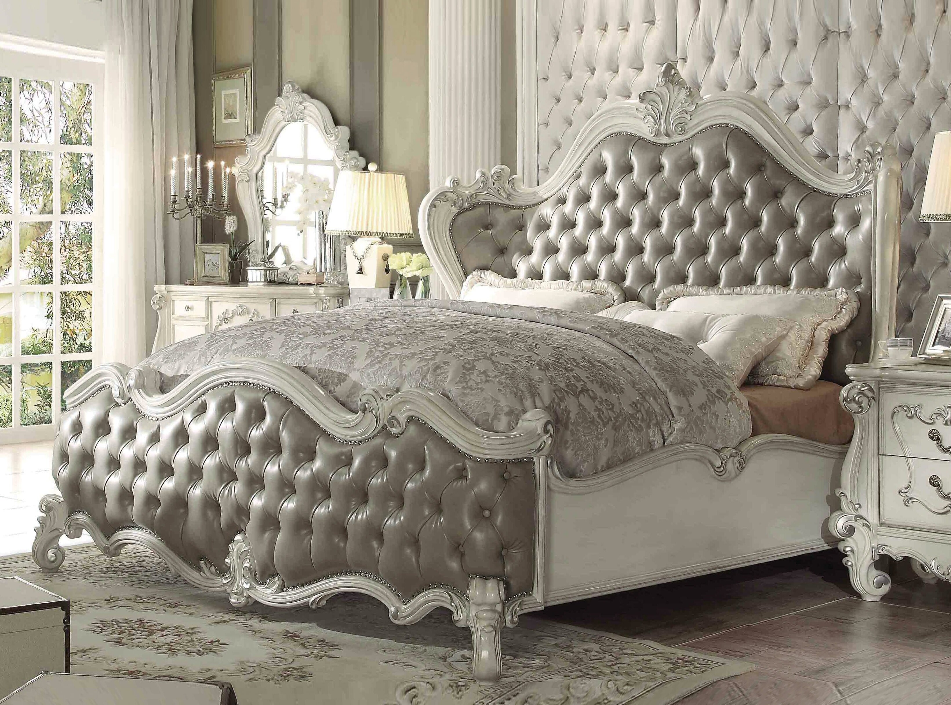 Major Q Traditional Style Vintage Gray Pu Queen Bed In Bone White Finish Wayfair