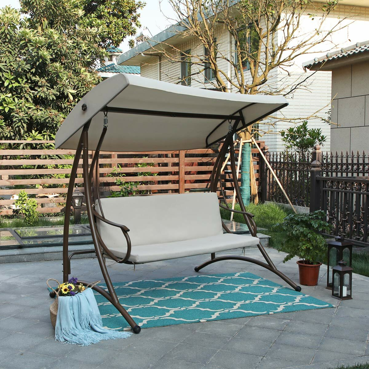 Arlmont Co Carl Outdoor Steel Porch Swing With Stand Reviews Wayfair