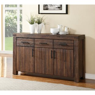 Langdon 3 Drawer Solid Acacia Wood Sideboard by Millwood Pines Savings