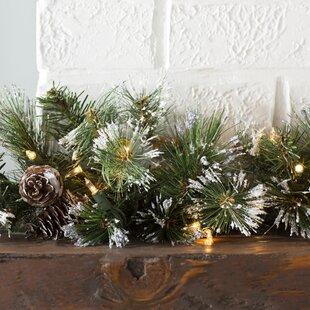 Find Pre-Lit Glitter Pine Garland By Three Posts