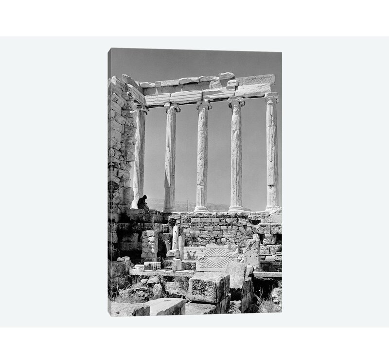 East Urban Home 1960s Anonymous Book Reader Sitting Among Greek Columns Architecture Ruins Before Restoration Parthenon Athens Acropolis Photographic Print On Wrapped Canvas Wayfair