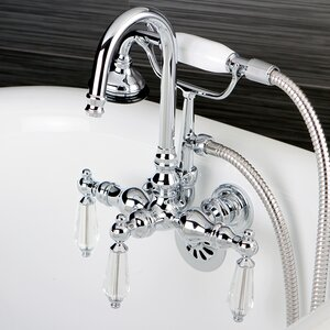 Wilshire Triple Handle Wall Mount Clawfoot Tub Faucet with Hand Shower