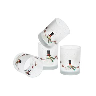 Duong Melting Snowman 14 oz Double Old Fashion Glass (Set of 4)