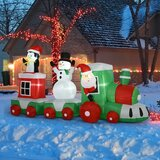 11' Long Christmas Inflatable Train With LED Lights Santa Claus Snowman Penguin For Holiday Yard Decoration