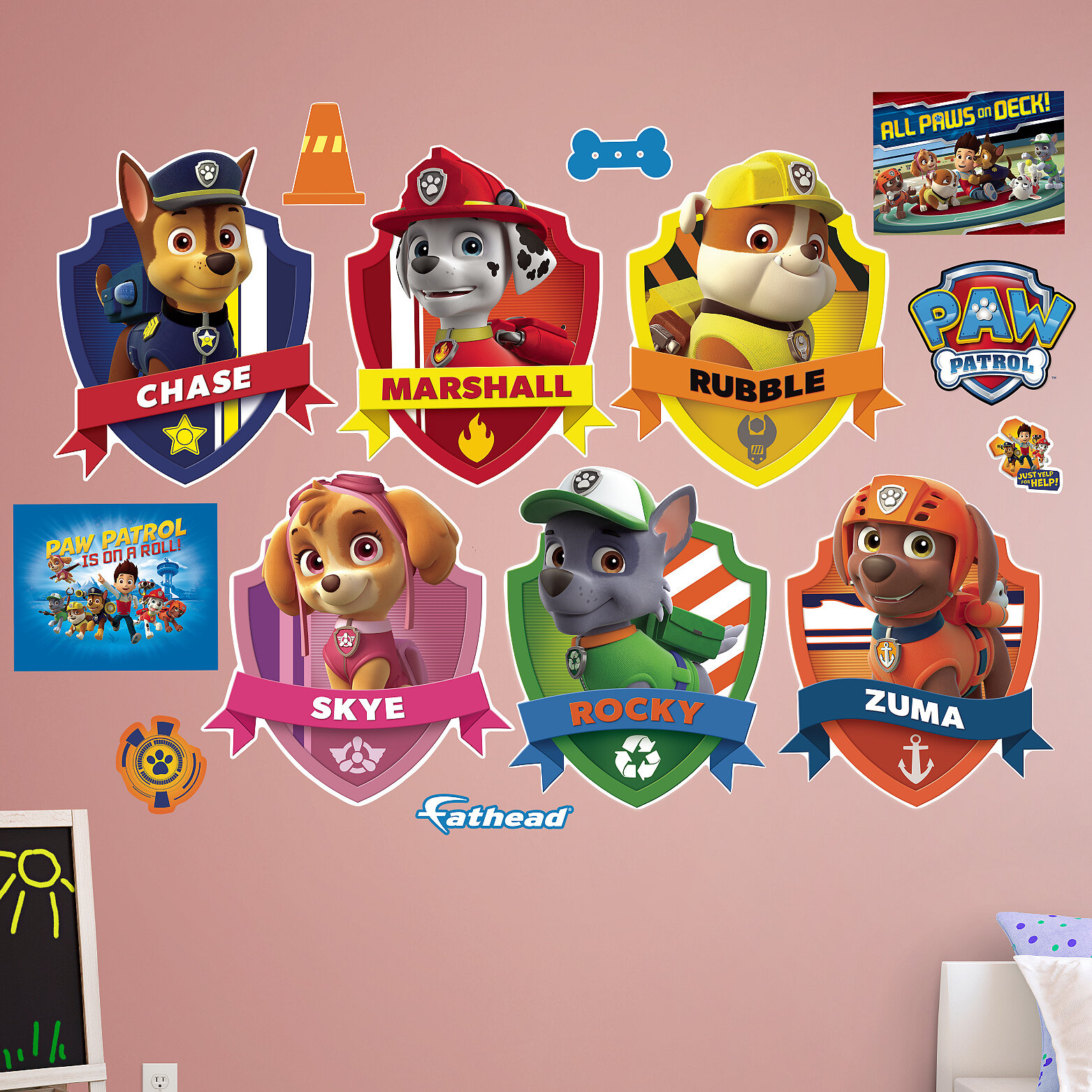 3D Paw Police Dogs Wall Stickers For Kids Room Bedroom Decoration