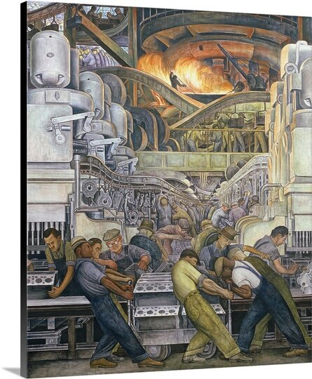 'Detroit Industry, North Wall, 1932-33' by Diego Rivera Painting Print