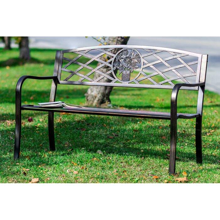 Miraculous Otoole Criss Cross Backrest Metal Garden Bench Evergreenethics Interior Chair Design Evergreenethicsorg