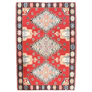 Look for Sino Shiraz Kilim Hand-Woven Wool Red/White Area Rug By Pasargad NY