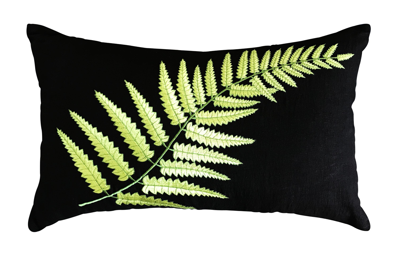 Ebern Designs Drogo Fern Embroidered Linen Lumbar Pillow Cover Wayfair