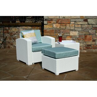 Loggins Lounge Patio Chair and Ottoman with Side Table