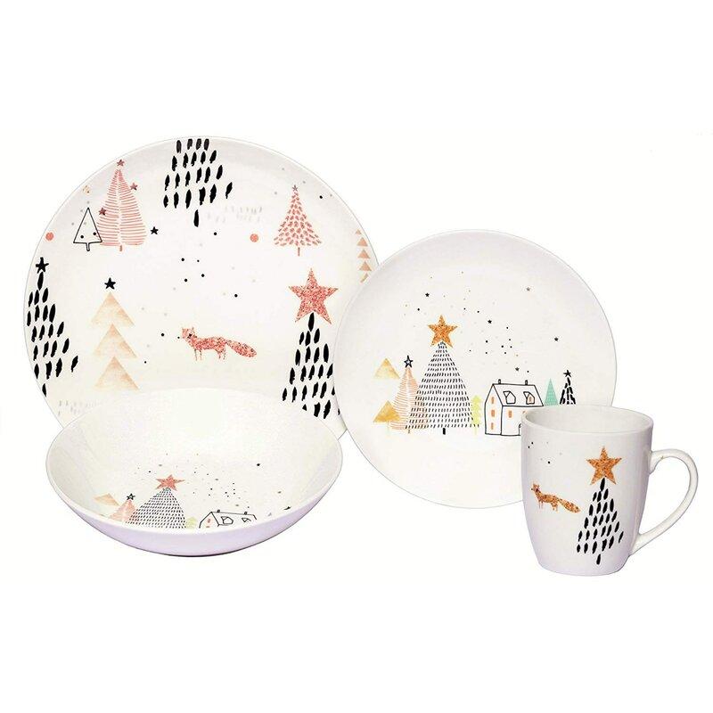 Melange Winter Fox Porcelain Coupe 16 Piece Dinnerware Set Service For 4 Reviews Wayfair