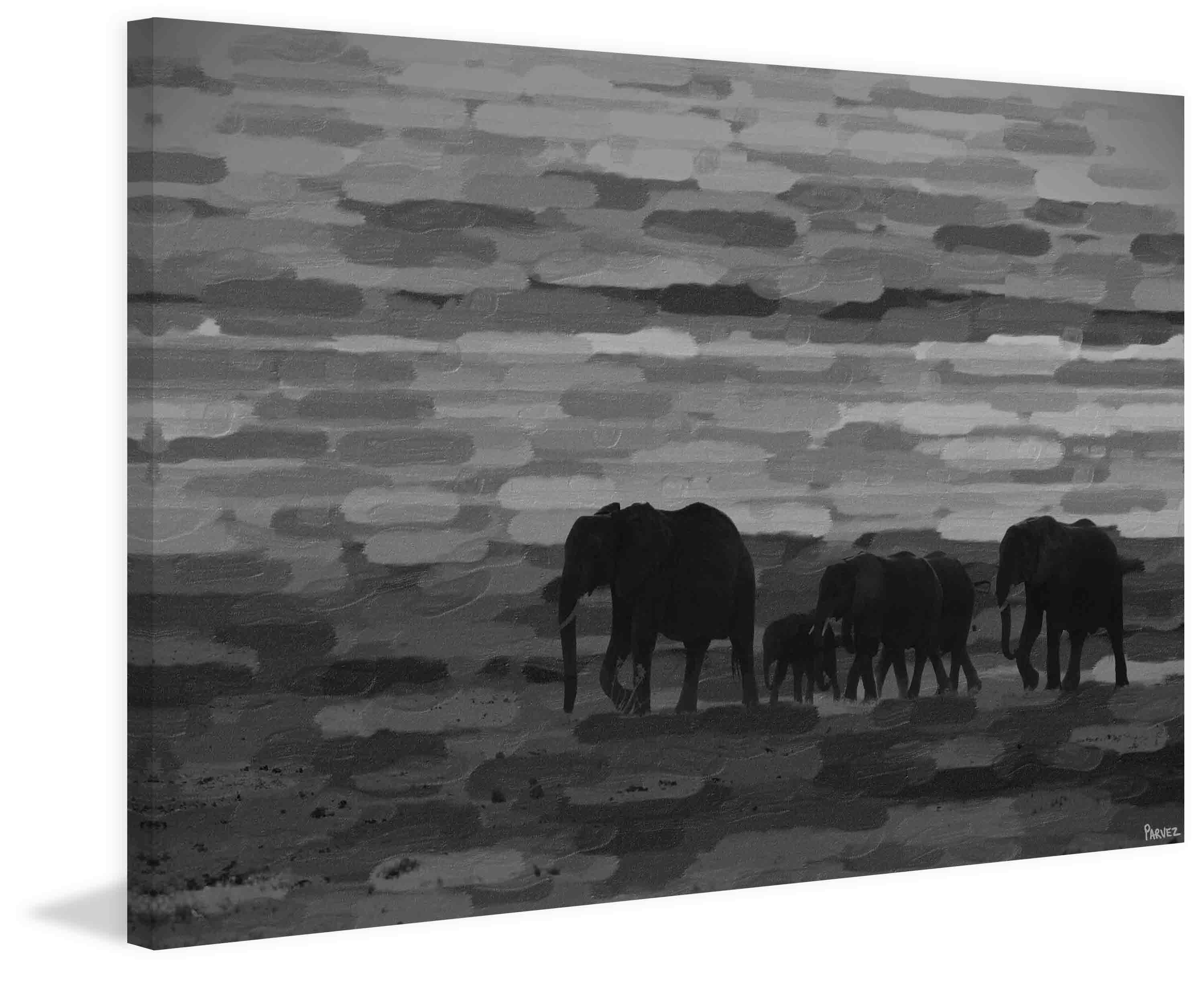 Pachyderm family by parvez taj painting print on wrapped canvas