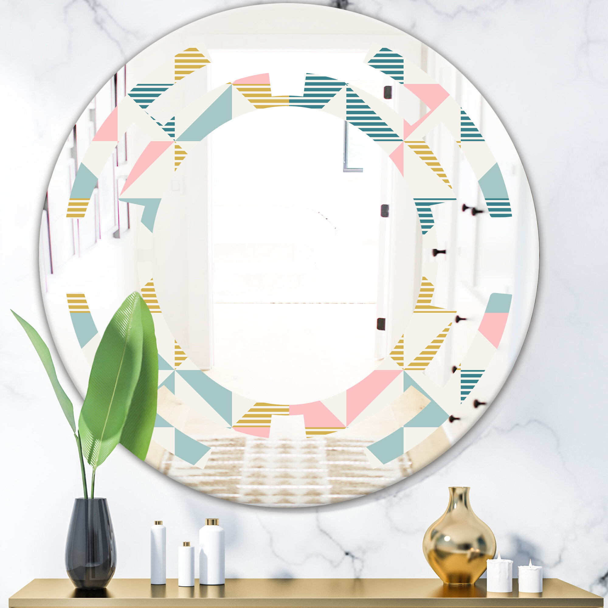 East Urban Home Space Diamond Retro Ii Cottage Americana Frameless Wall Mirror Wayfair