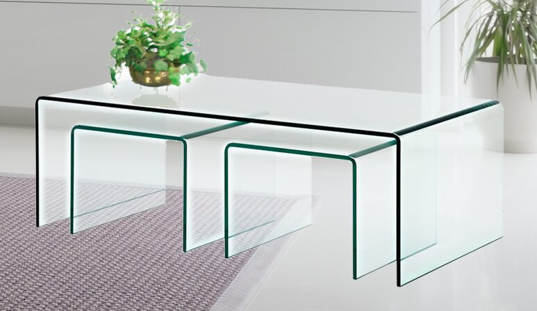 Fab glass and mirror 3 piece clear bent glass nesting tables 3 piece clear bent glass nesting tables watchthetrailerfo
