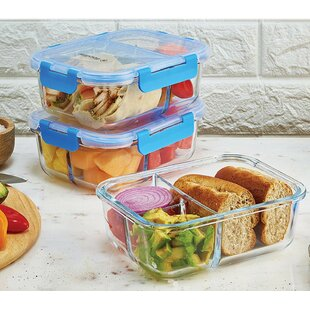 Cecelia Glass Meal Prep 30 Oz. Food Storage Container (Set of 3)