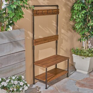 Mullenax Outdoor Bench with Shelf and Coat Hooks
