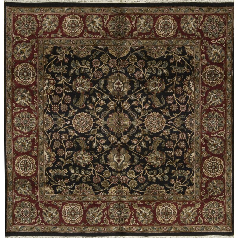 Bokara Rug Co., Inc. One-of-a-Kind Crown Hand-Knotted Square 711 Wool Black/Red Area Rug