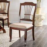 Gregor Slat Back Side Chair in Brown Cherry/Beige (Set of 2) by Alcott Hill®
