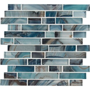 Night Sky Interlocking Random Sized Glass Mosaic Tile in Blue