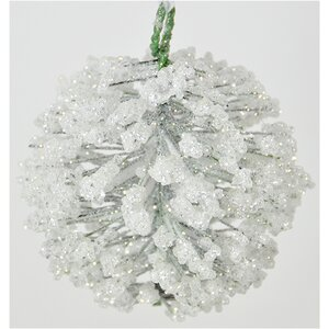 Hanging Iced Pine Ball Ornament (Set of 4)