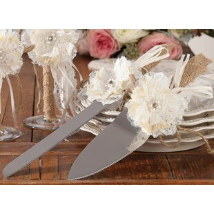 Rustic Burlap And Lace 2 Piece Cake Server Set by Le Prise Find