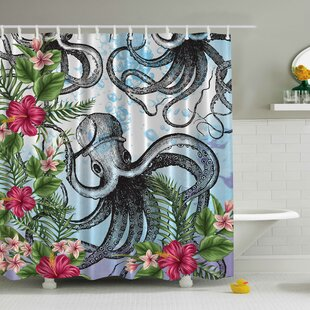 Octopus in Tropical Underwater Print Single Shower Curtain