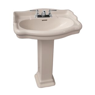 Stanford 600 Vitreous China 24 Pedestal Bathroom Sink with Overflow Barclay