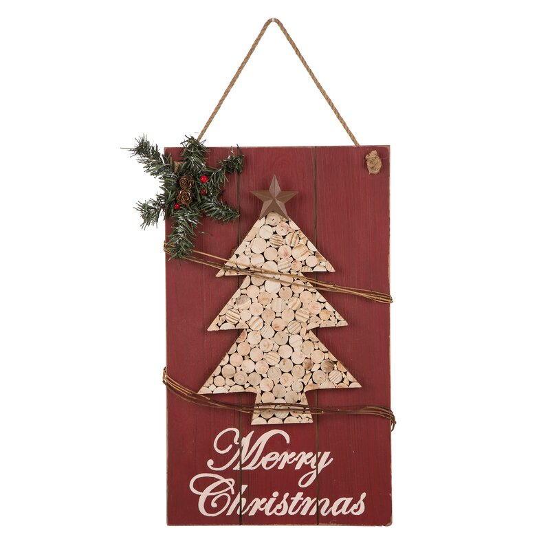 wooden christmas tree sign wall dcor