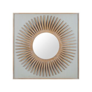 Brayden Studio Mahogany Wood Starburst Accent Wall Mirror