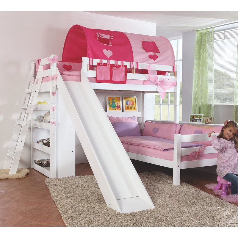 Reina European Single L-Shaped Bunk Bed with Slide